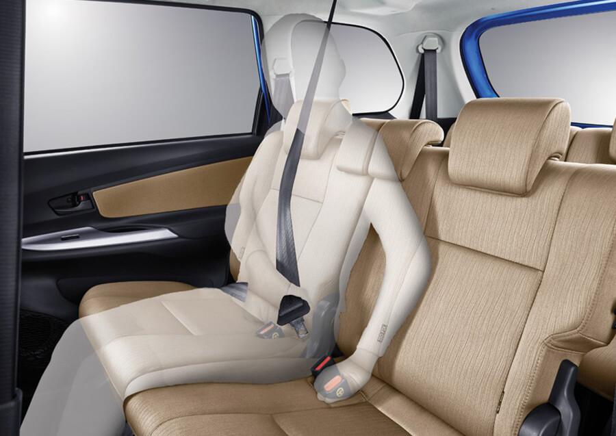 Tampilan interior sabuk pengaman Toyota Avanza baru